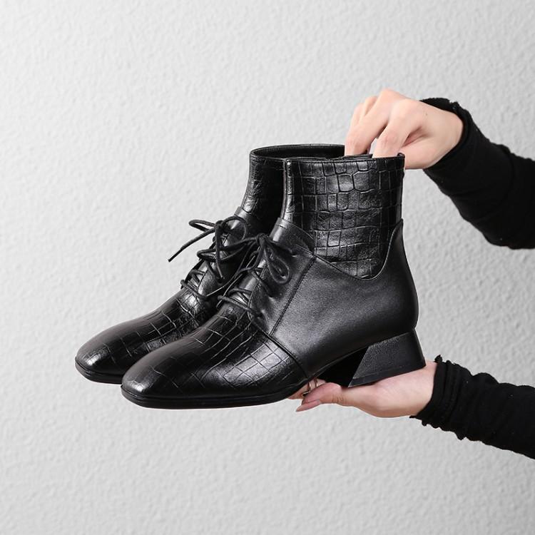 a493c36f863 Carré Croix Côté Fille Chunky Chaussures Nouvelle Pour Chic Femmes Avant  Talon Rouge vin Noir Patchwork Cheville ...