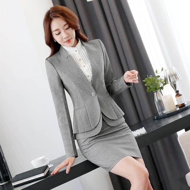 Mujeres de la manera formal Trajes ol Oficina uniforme diseños de manga  larga blazer con falda 34e69d6a718a
