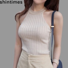 Women Crop Top 2015 New Blouses Summer Cotton Vest Womens Off Shoulder Halter Sexy Sleeveless Tops Clothing Slim Women Crop Top fashion off shoulder halter stripe pattern crop top