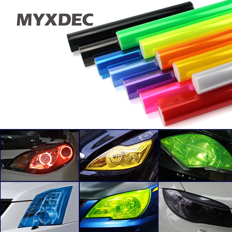 "30cmx1m 12""x40"" Auto Car Light Headlight Taillight Tint Vinyl Film Sticker Easy Stick Motorcycle Whole Car Decoration 12 Colors(China)"