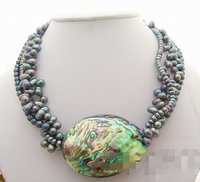 Hot sell Noble FREE SHIPPING>>>>>> 4Strds Black Pearl&Paua Abalone Shell Necklace