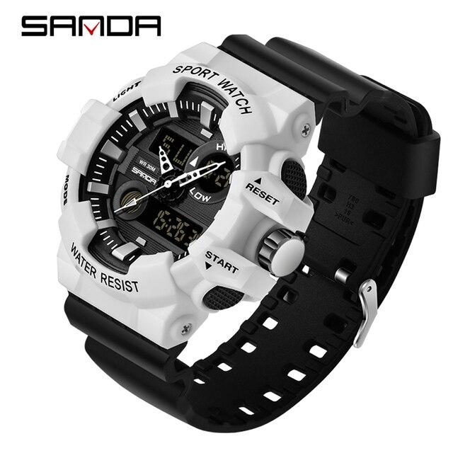 2018 New SANDA Sports Men's Watches Top Brand Luxury Military Quartz Watch Men W