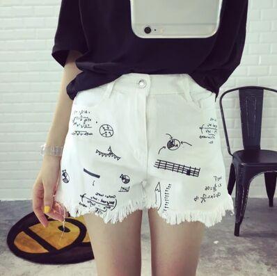 2017 El Nuevo Estilo Europeo y Americano Pantalones Cortos de Mujeres de Graffiti agujero Y Borla Pantalones Cortos de Mezclilla Blanco Más El Tamaño de Cintura Alta pantalones cortos