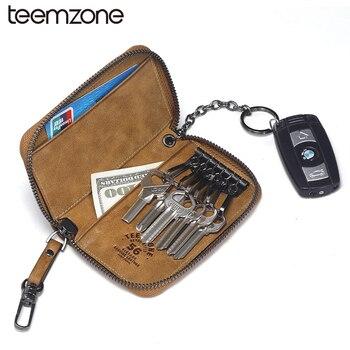 Teemzone dos homens novo estilo de couro genuíno chave do caso chave carteiras cowskin mulher de alta qualidade do couro do vintage 2 chave titular y801