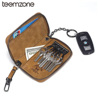 teemzone New Style Men's Genuine Leather Key Wallets High Quality Cowskin Woman Key Case Vintage Cowhide 2 Key Holder Y801