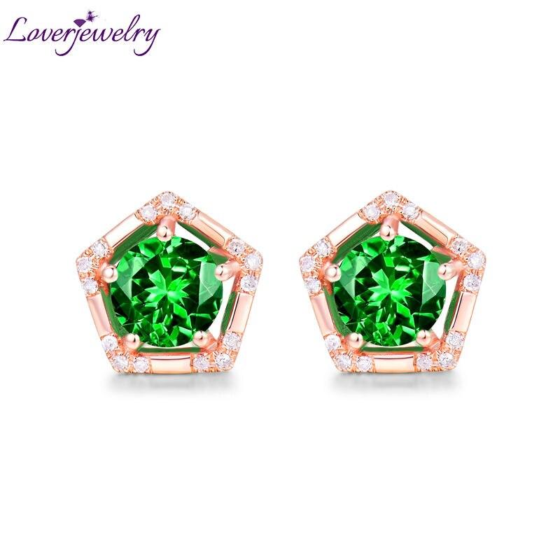 Elegant Design Solid 14K Rose Gold Wedding Diamond Natural Tsavorite Anniversary Women's Earring for Love Gift solid 14k rose gold 100