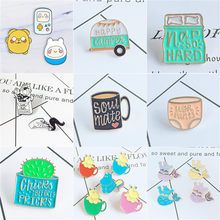 Cute Cartoon Metal Enamel Brooch Puzzle SOUL MATE Coffee Cup Hippo Mermaid Badge Pin Trendy Backpack Hat Jewelry Accessories(China)