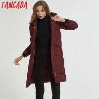 Tangada 2017 Women Winter Long Jackets Coats With Hood Fashion Red Womens Parkas Womens Quilted Coat Warm Thick Plus Size 8L02