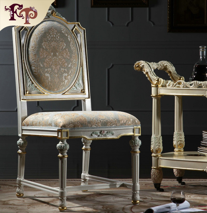 <font><b>Italian</b></font> style dining room furniture-hand carving leaf gilding chair Antique furnitures