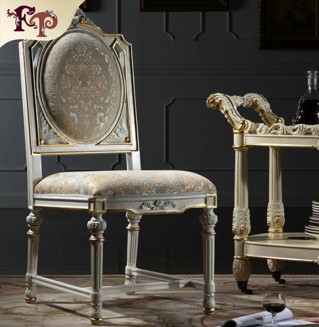 Italian Style Dining Room Furniture Hand Carving Leaf Gilding Chair Antique Furnitures