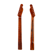 21 Fret TL Guitar Neck Tiger Flame Maple with Back Strip 6MM Abalone Dots Brush Off Yellow Glossy for Guitar Neck Replacement