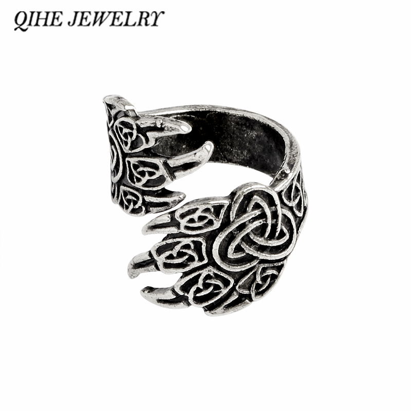 Aliexpress Qihe Jewelry Viking Cow Raven Claw Ring Gothic Odin S Ravens Norse Mythology Rings For Men Gift From Reliable