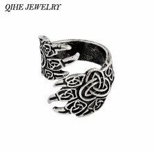 8e97c1eb84a8 Qihe joyería Viking vaca Cuervo garra anillo gótico de ODIN Ravens Viking  mitología nórdica anillos para hombres regalo