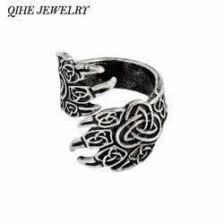 QIHE JEWELRY Viking Cow Raven Claw Ring Gothic Odin's Ravens Viking Jewelry Norse Mythology Rings for men Gift