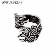 QIHE JEWELRY Viking Cow Raven Claw Ring Gothic Odin's Ravens Viking Jewelry Norse Mythology Rings for men Gift(China)