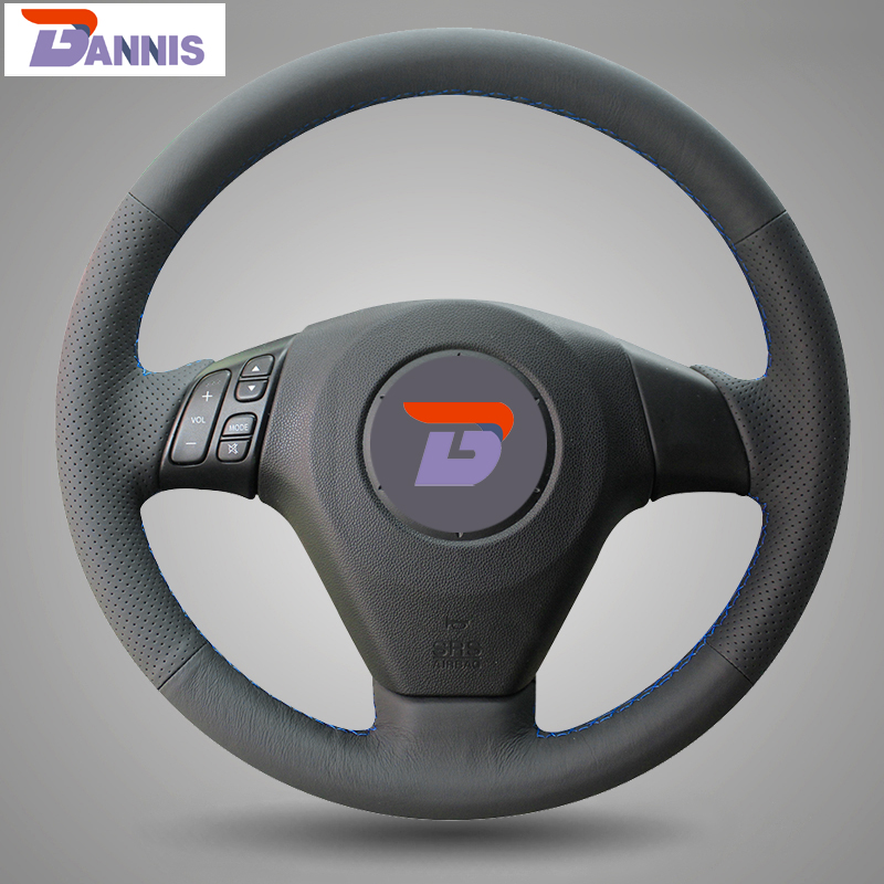 BANNIS Black Artificial Leather DIY Hand stitched Steering Wheel Cover for Old Mazda 3 Mazda 5