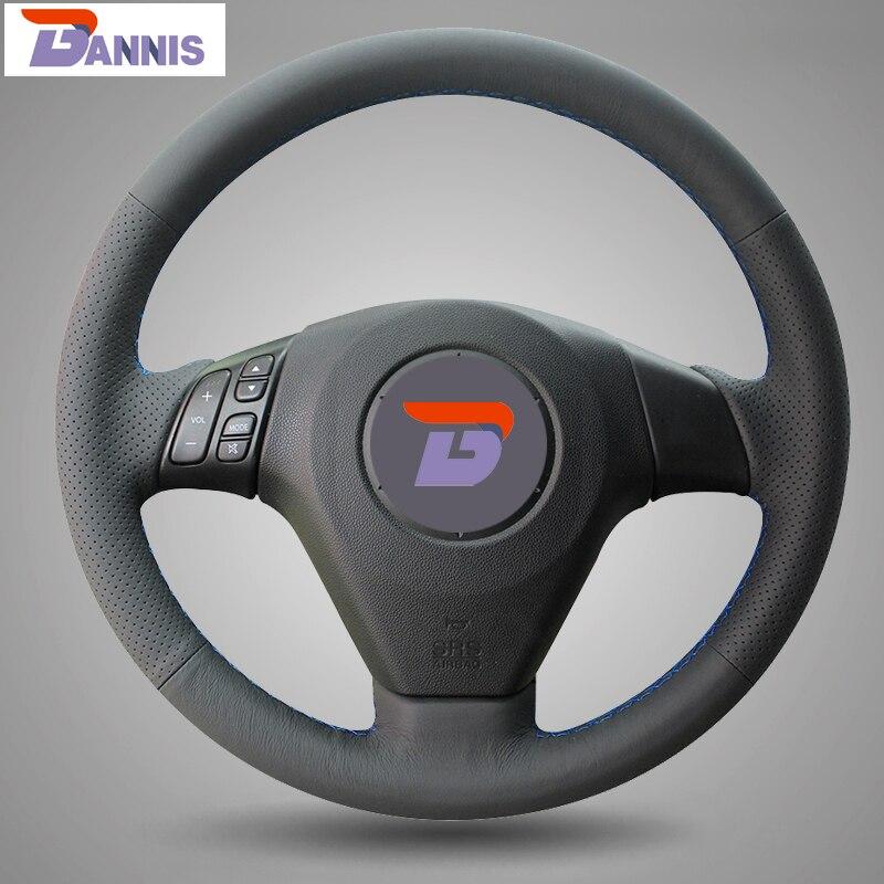 BANNIS Noir Cuir Artificiel BRICOLAGE à La Main Couvercle Du Volant cousu pour Vieux Mazda 3 Mazda 5 Mazda 6 Pentium B70