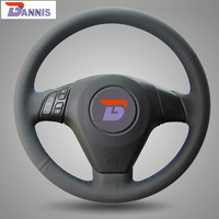 Black Artificial Leather DIY Hand Stitched Steering Wheel Cover For Old Mazda 3 Mazda 5 Mazda