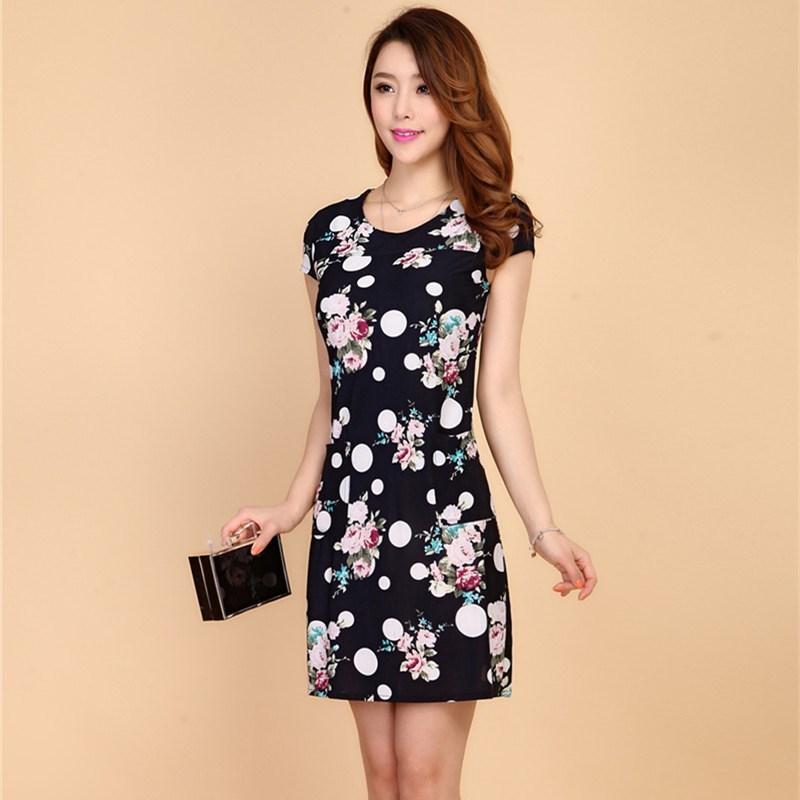 L-5XL 2019 Kvinder Kjoler Plus Size Slank Tunisk Mælke Silk Print - Dametøj - Foto 3