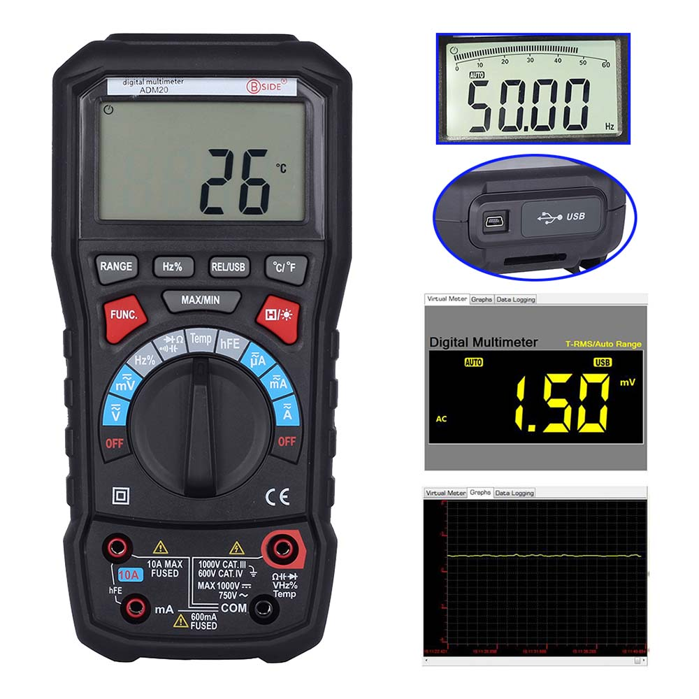 M074 ADM20 6000 TURE RMS autorange digital multimeter DMM USB interface support PC Backlight 1pc victor 8245 vc8245 4 1 2 bench desktop display with high precision digital multimeter ture rms with usb interface