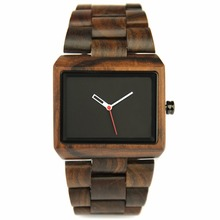 REDEAR Brand Fashion Men's Style Business Wood Watch Ebony Material Case Retro Classic Style Simple Square Design Bamboo Band