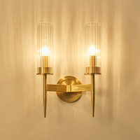 Modern Wall Light Glass Home Lighting Gold Metal Wall Lamp Loft RH Mirror Sconce Fixtures For Bedroom Beside Copper Lamp F051A
