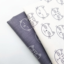 Lovely Cat Printing Cotton Twill Fabric Patchwork DIY Sewing Quilting Pure Material For Bedding Blanket Baby Cloth