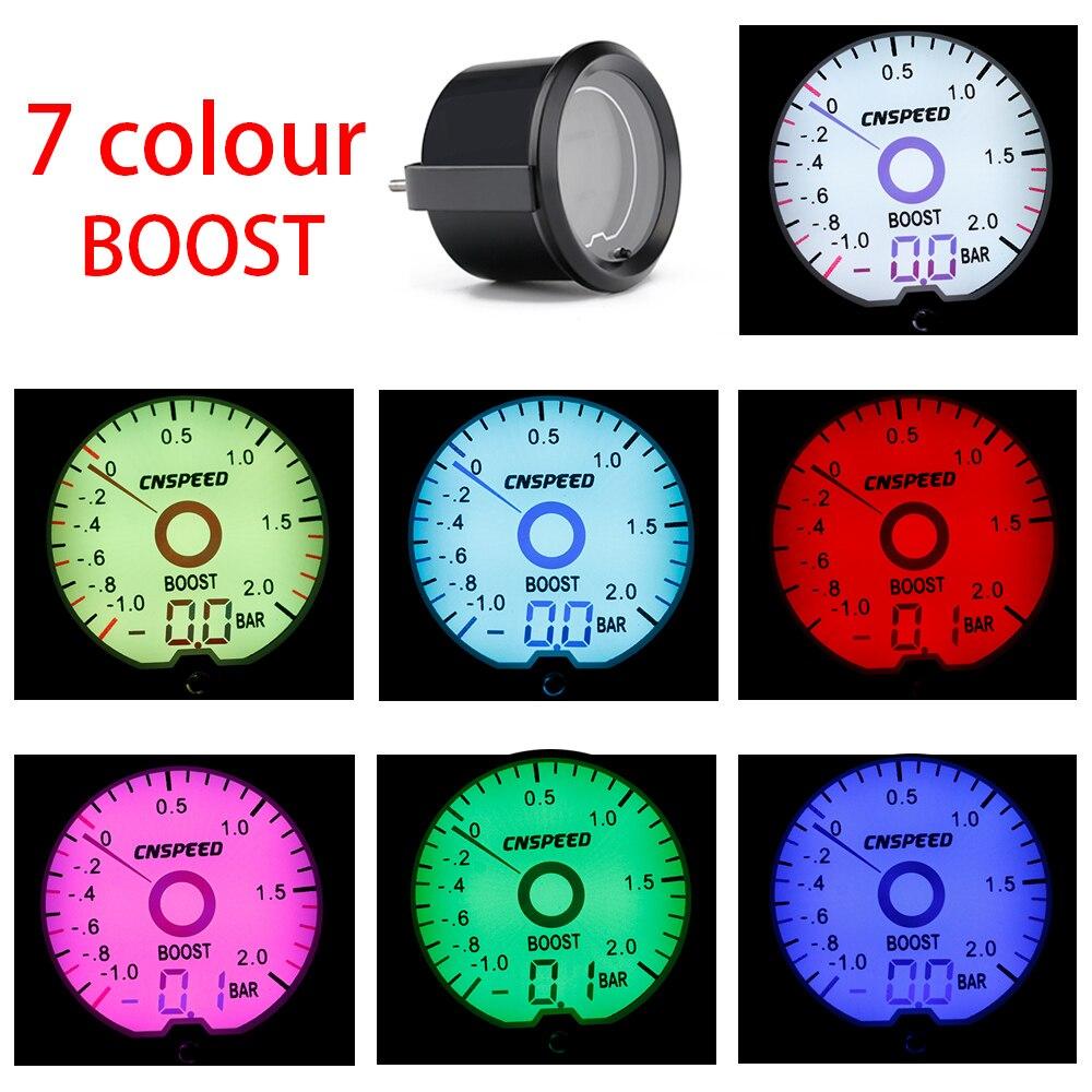 CNSPEED 252mm Auto Digital Virtual Pointer Turbo Boost Gauge -1-2Bar Led Light Turbo Boost Meter With Sensor Car Meter