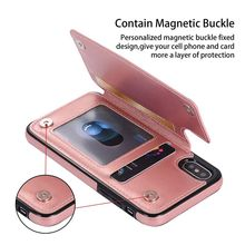 Luxury Card Holder Back Cover for iPhone Xs XR Xs Max Case PU Leather Fashion Case for iPhone 6 7 8 Plus 5 5S SE Cover Coque цена в Москве и Питере