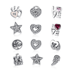 BAMOER 925 Sterling Silver Celestial ,Love & Family,Forever Hearts Petites Memories Beads Fit Floating Locket Necklaces PSF101