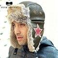 Abas de orelha bombardeiro aviador chapéu de inverno ao ar livre cap mens trapper prova russa Chapéus Para Homens E Mulheres de Chapéu Morno Grosso da Pele A734