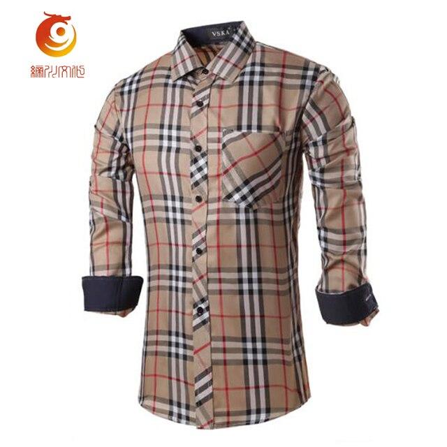 Pocket Decoration England Style Plaid Mens Shirts Fashion 2017 Spring Shirt Men Long Sleeve Slim Fit Mens Dress Shirts