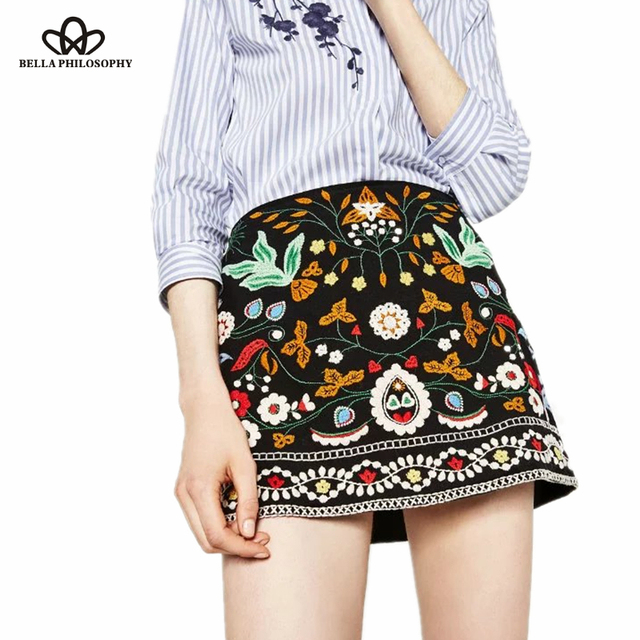 Белла Пособия по философии 2018 осень богемный стиль юбка-трапеция этнической вышивкой юбка черные повседневные мини-юбка