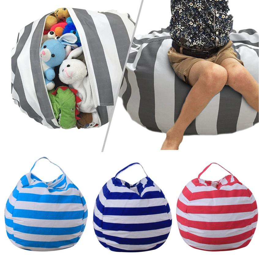 Large 16 Inch Stripe Fabric Chair Sitting Kids Plush Toys Storage Bag Pouch Stuff Animal Storage Bean Bags with carrier Handle