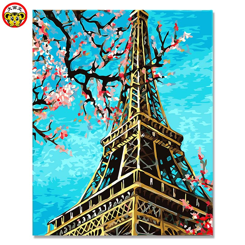 Eiffel Tower Frameless Painting By Numbers DIY Digital Canvas Oil Painting Home Decor For Living Room Wall Paris in the spring