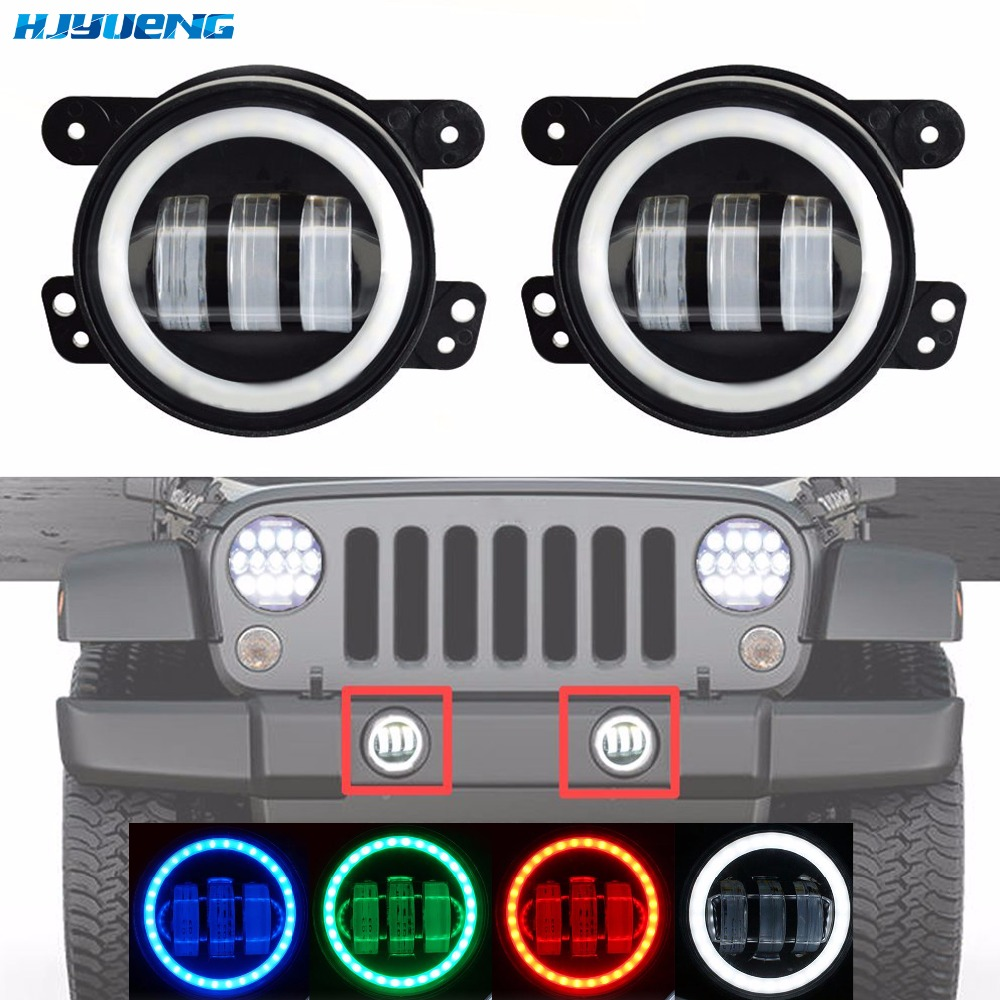 30w 4 Inch Round Led Fog Light Headlight Projector lens With Halo DRL Lamp For Offroad Jeep Wrangler Jk Dodge hummer H1 H2 2pcs led round 4 inch fog lights 30w 4 fog lamp lens projector led driving headlamp for offroad jeep wrangler dodge chrysler