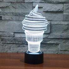 3D Desk Lamp ice cream Gift Acrylic Night light LED lighting Furniture Decorative colorful 7 color change Home Accessory 3d visual acrylic led colorful decorative night light