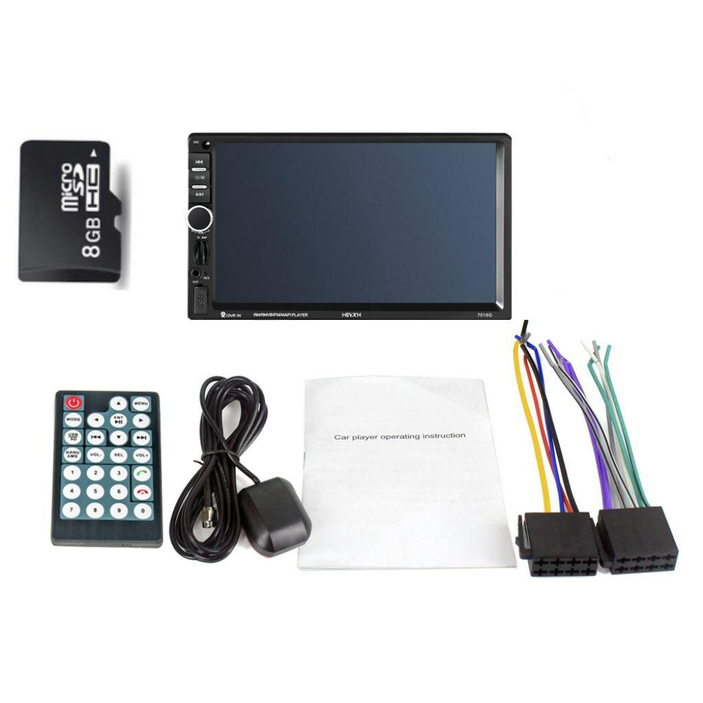 Lecteur multimédia de voiture 2 din Navigation GPS avec carte 7 pouces HD écran tactile Bluetooth Radio MP3 MP5 lecteur 7018G Radios (Europe