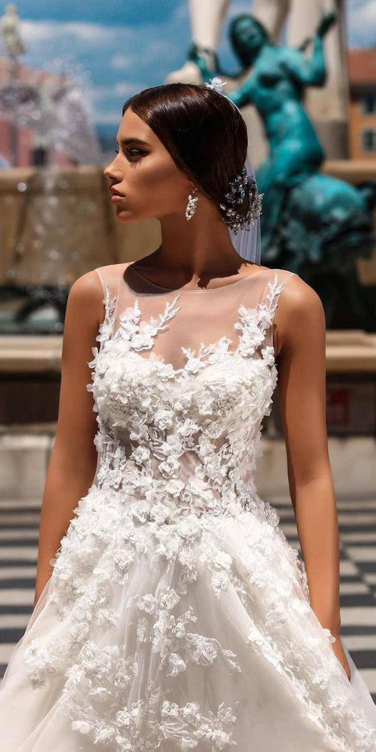 3ca49df135 ... 2018 Gorgeous 3D Floral A Line Wedding Gowns Sheer Neck Floor Length  Beach Wedding Gowns Sexy ...