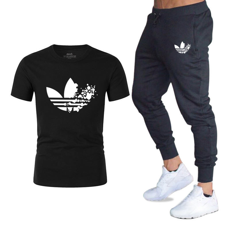 New Brand Men   T  -  shirt   Casual Two Pieces Sets   T     Shirts  +Pants Suit Men Summer Tops Tees Fashion Tshirt High Quality men clothing