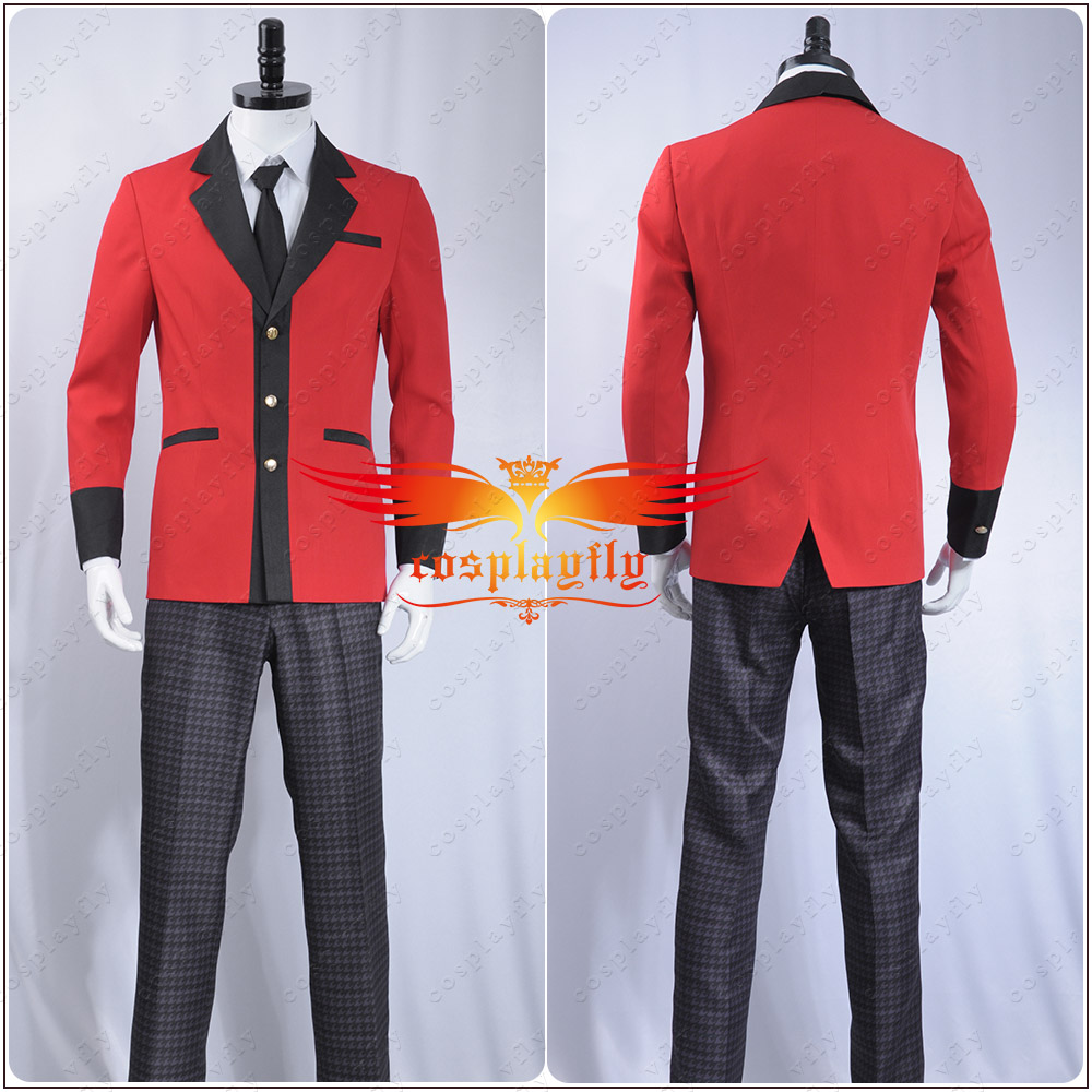 Kakegurui Compulsive Gambler Manyuuda Kaede Suzui Ryota Cosplay Costume Custom Men Uniform Red Jacket Printed Pants Shirt Tie in Anime Costumes from Novelty Special Use
