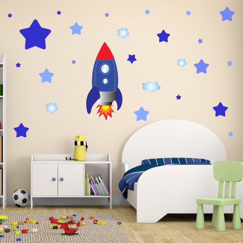 Could Stars Plane Rocket Cartoon Wall Art Decal For Kid Nursery Bedroom Home Decor Vinyl Wall Sticker Removable Modern Wallpaper (3)
