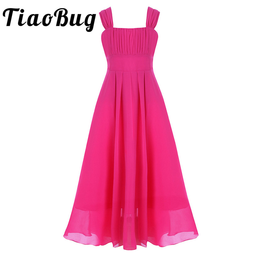 TiaoBug Summer Girls Chiffon Flower Girl Dresses Princess Pageant Wedding Party Dresses Sleeveless Ball Gown Flower Girl Dresses
