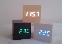 Fashion square led luminous led clock mini voice activated alarm clock wood clock electronic desk clock