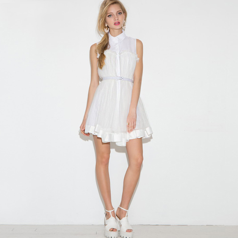Edglul Un Bois Sans Mot Uwhite Sexy Couture En Dres Femmes Robe Formelle Douce Gaze Manches D'été Plis Maille 2018 Chemise Et kZuXPi