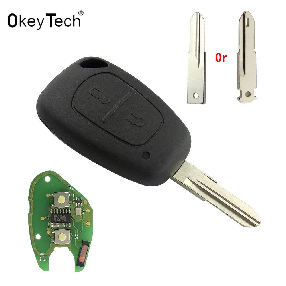 OkeyTech Car Remote Key Suit for Renault CLIO SCENIC Traffic Master Vivaro Movano KANGOO duster PCF7946 Chip 433MHZ VAC102 Blade