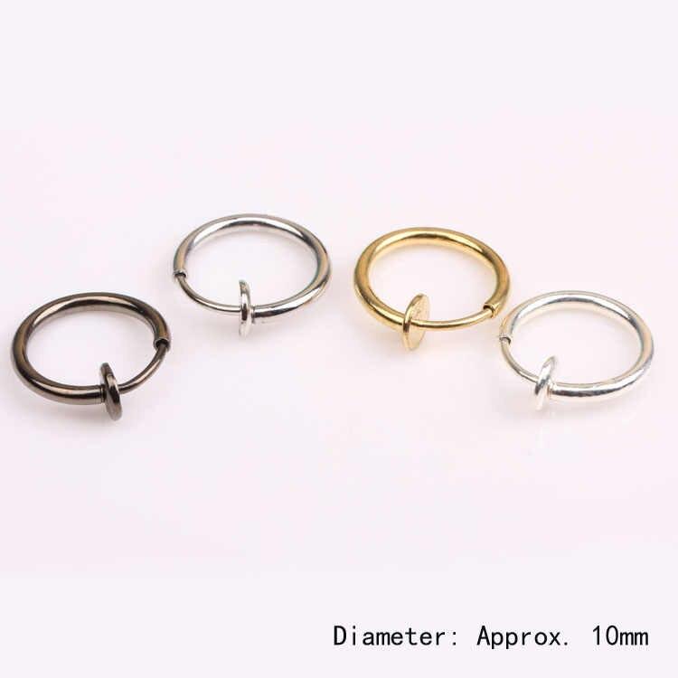 1 Uds. 10mm moda Punk Clip en falso Piercing labio aro anillos pendientes 4 colores puede Dropshiping