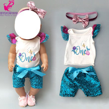 Doll summer clothes pants headband set for 43cm baby doll ocean sea sequin dress 18 inch doll dress head crown accessories(China)