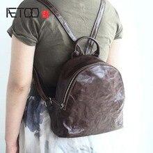 Aetoo кожа сумка женская голова слой кожи винтажные путешествия рюкзак девушки 17 новые кожаные женские плеча небольшой рюкзак