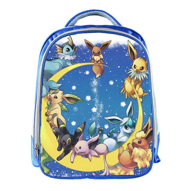 439dfed09756 Pokemon Eevee Vaporeon Sylveon Umbreon Jolteon Backpack Blue School Bag  Kids Boys Girls Cute Primary School Kindergarten Bags